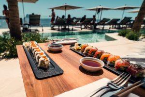 sushi from blackfin tuna fishing charter